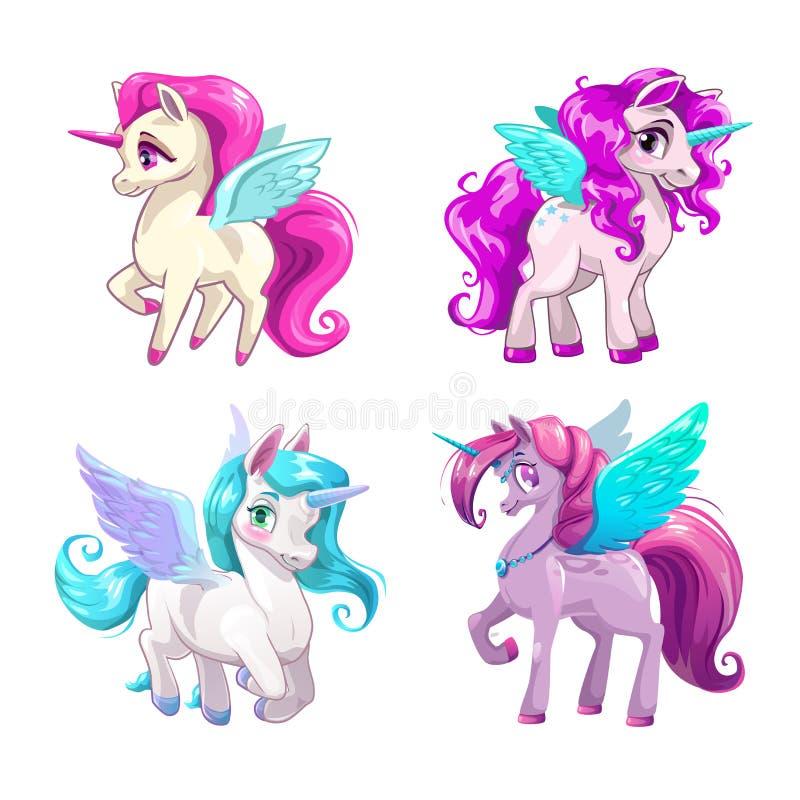 Peu d'icônes mignonnes de Pegasus de bande dessinée réglées illustration stock