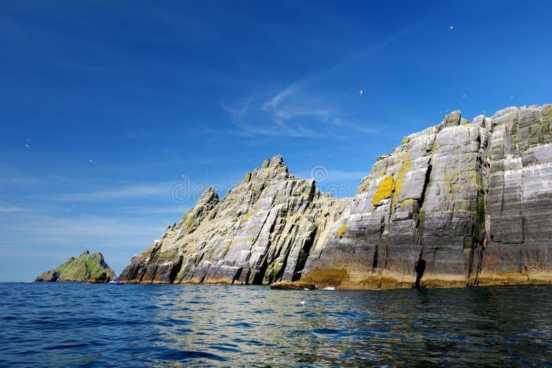Peu d'?le de Skellig, maison ? beaucoup de divers oiseaux marins et la deuxi?me plus grand colonie de fous de Bassan dans le mond photo stock