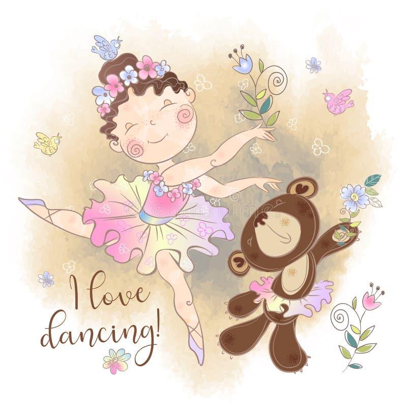 Peu danse de fille de ballerine avec un ours J'aime danser inscription Vecteur illustration stock