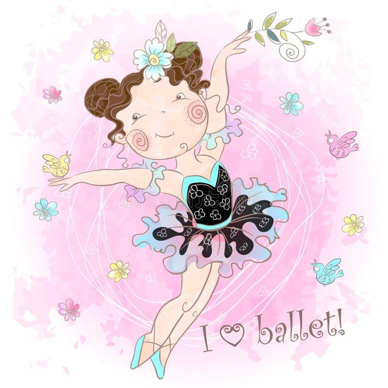 Peu danse mignonne de ballerine de fille J'aime le ballet inscription Vecteur watercolor illustration libre de droits