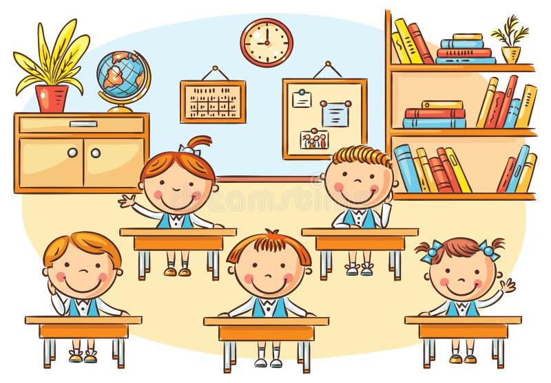 Peu de bande dessinée badine dans la salle de classe à la leçon illustration libre de droits