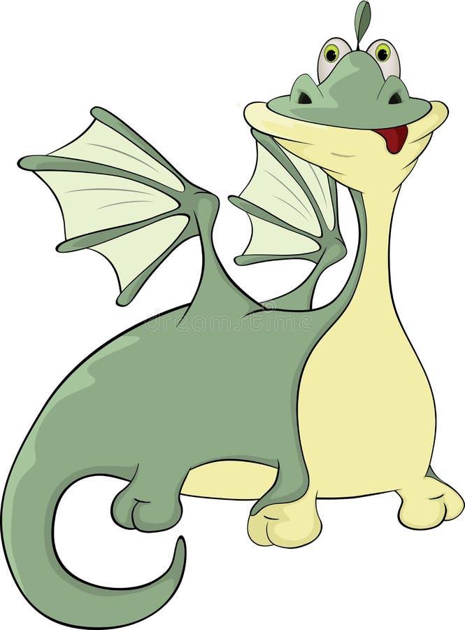 Peu de bande dessinée de dragon vert illustration libre de droits