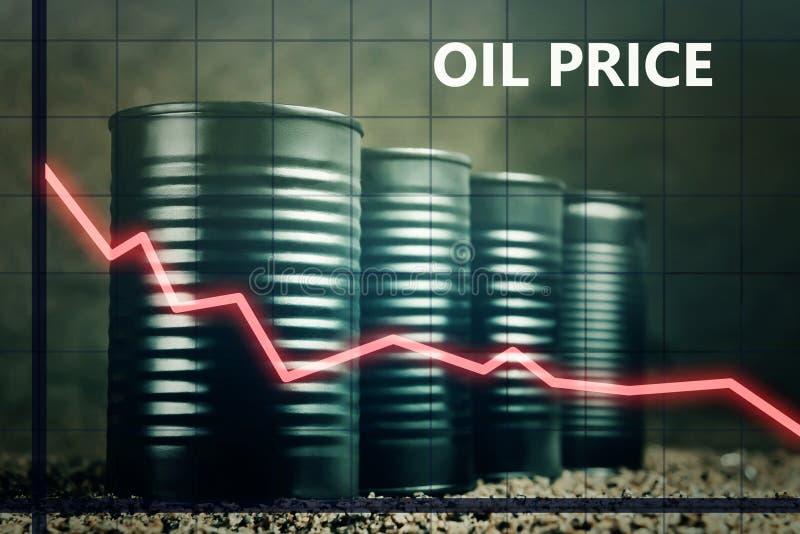Peu de barils de pétrole et un graphique rouge en bas - de baisse dans le concept de prix du pétrole photographie stock libre de droits