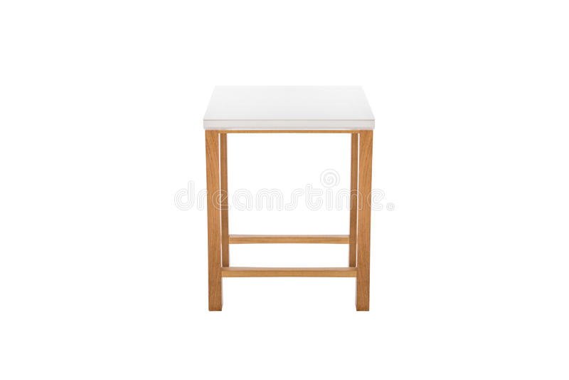 peu de blanc et bois de table photographie stock
