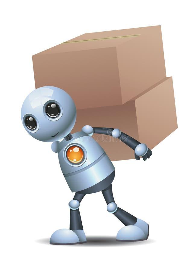 Peu de boîte livrée par robot illustration de vecteur