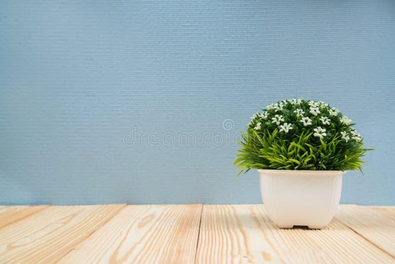 Peu de bouquet décoratif d'arbre et de fleur dans le vase blanc sur le woode image libre de droits