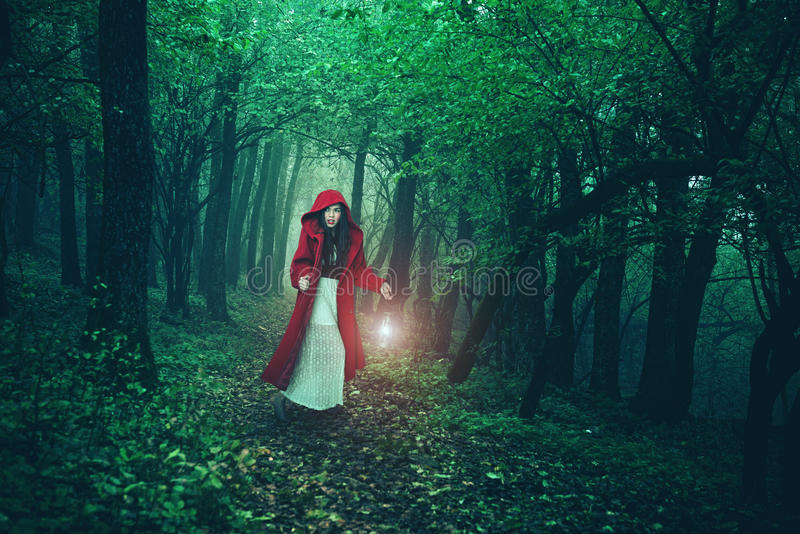 Peu de capuchon rouge dans les bois photos stock