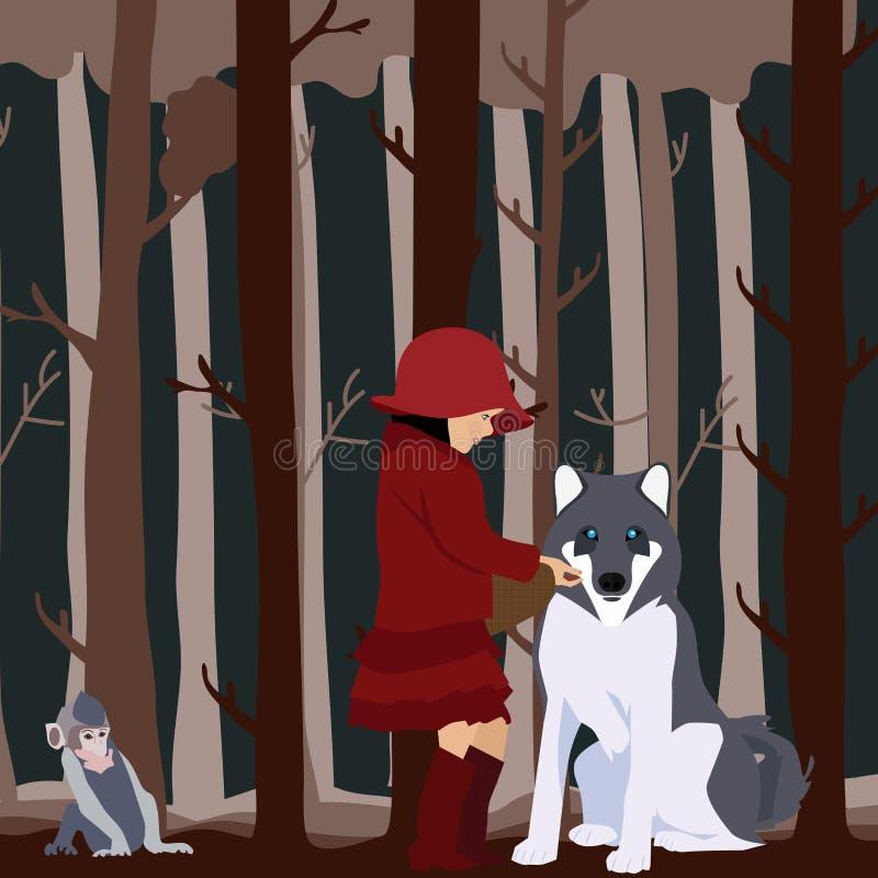 Peu de capuchon rouge traite en ami illustration stock