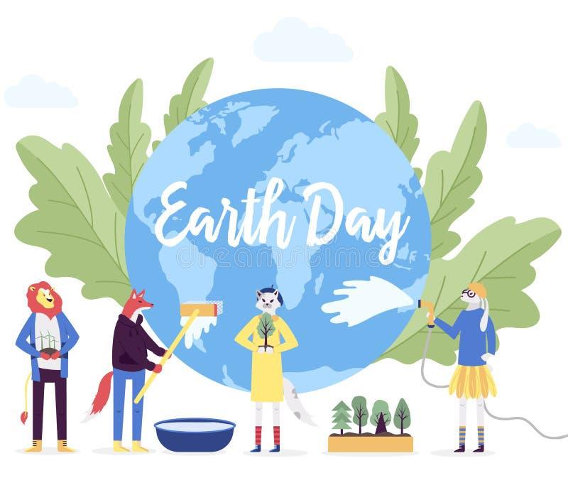 Peu de caractère se préparer au jour du concept de la terre Sauvez la planète, l'énergie de sauvegarde, l'heure de la conception  illustration stock