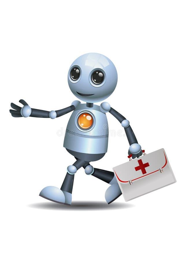 Peu de cas de médecin de prise de robot illustration libre de droits