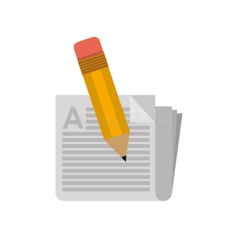 Peu de crayon d'école avec le journal illustration libre de droits