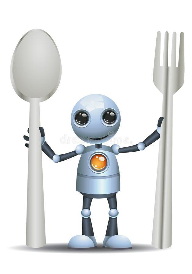 Peu de cuillère et fourchette de prise de robot illustration de vecteur