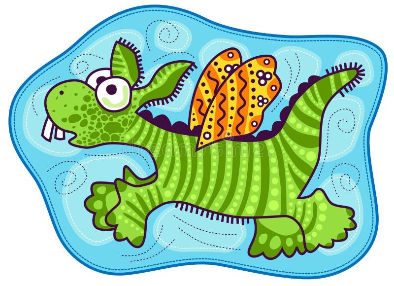Peu de dragon avec les ailes jaunes illustration libre de droits