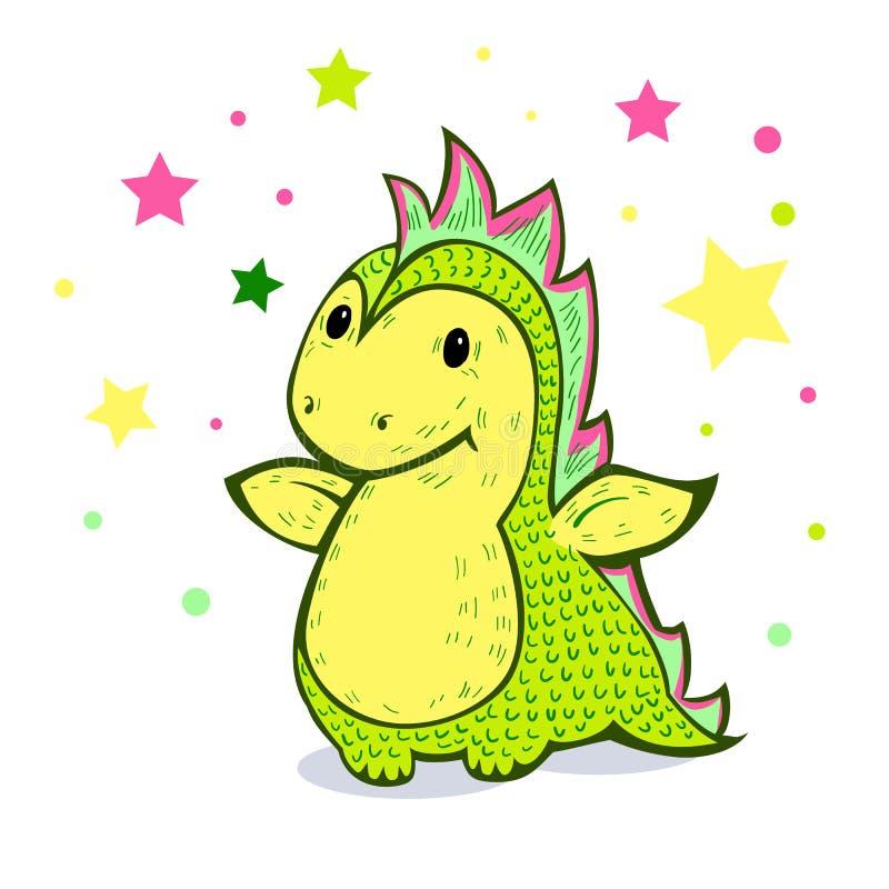 Peu de dragon de bande dessinée de couleur verte illustration de vecteur