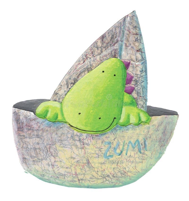 Peu de dragon mignon dans le bateau illustration stock