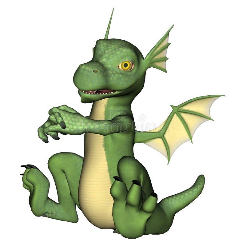 Peu de dragon vert illustration de vecteur