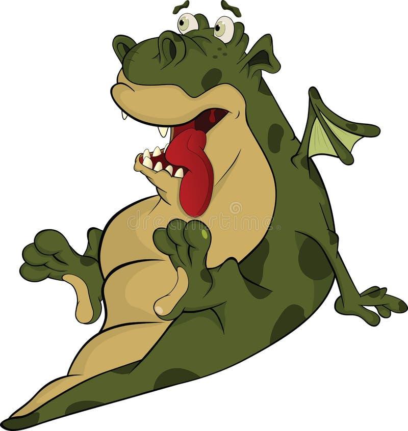 Peu de dragon vert. Dessin animé illustration libre de droits