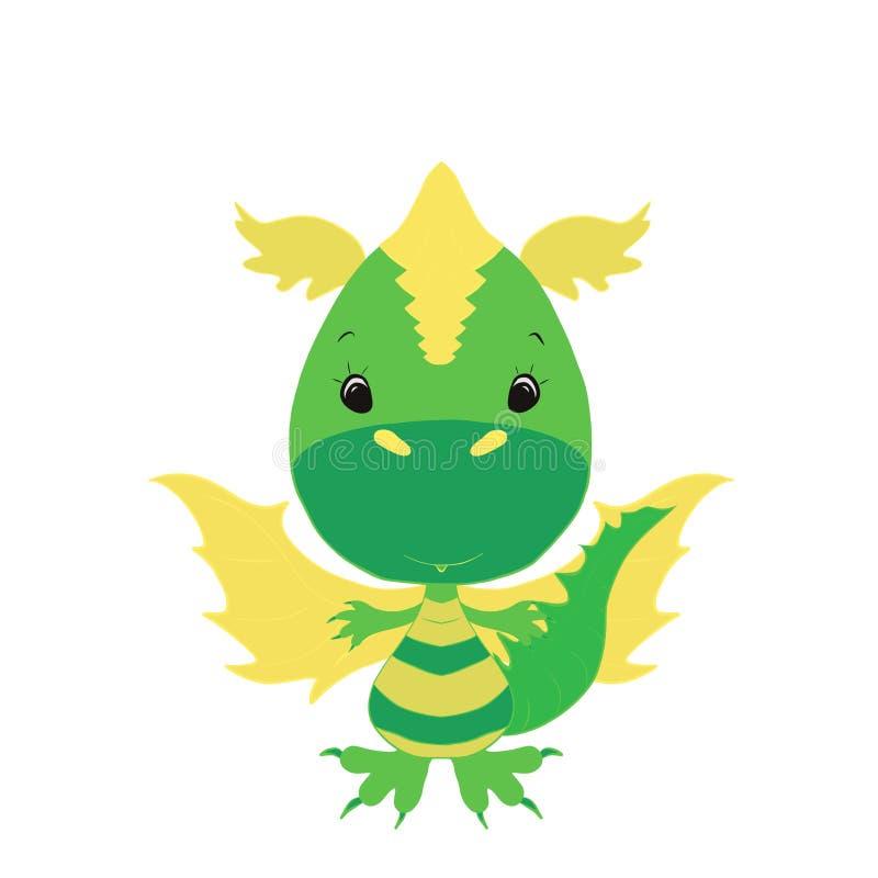 Peu de dragon vert mignon illustration libre de droits