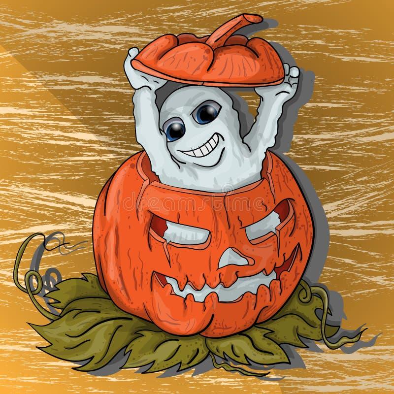 Peu de fantôme s'élève hors du potiron dans Halloween illustration de vecteur