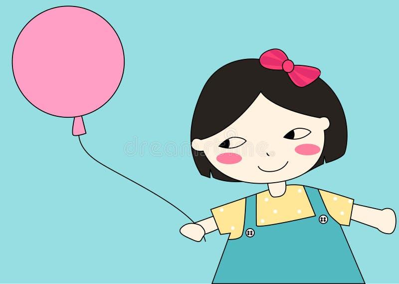 Peu de fille de dessin animé avec le ballon illustration de vecteur