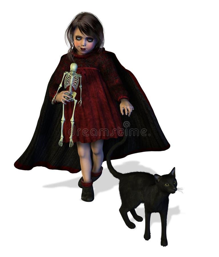 Peu de fille de Goth illustration de vecteur