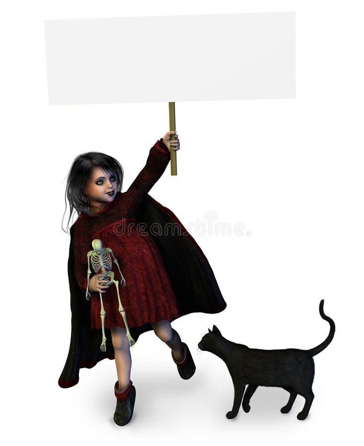 Peu de fille de Goth avec le signe blanc illustration libre de droits
