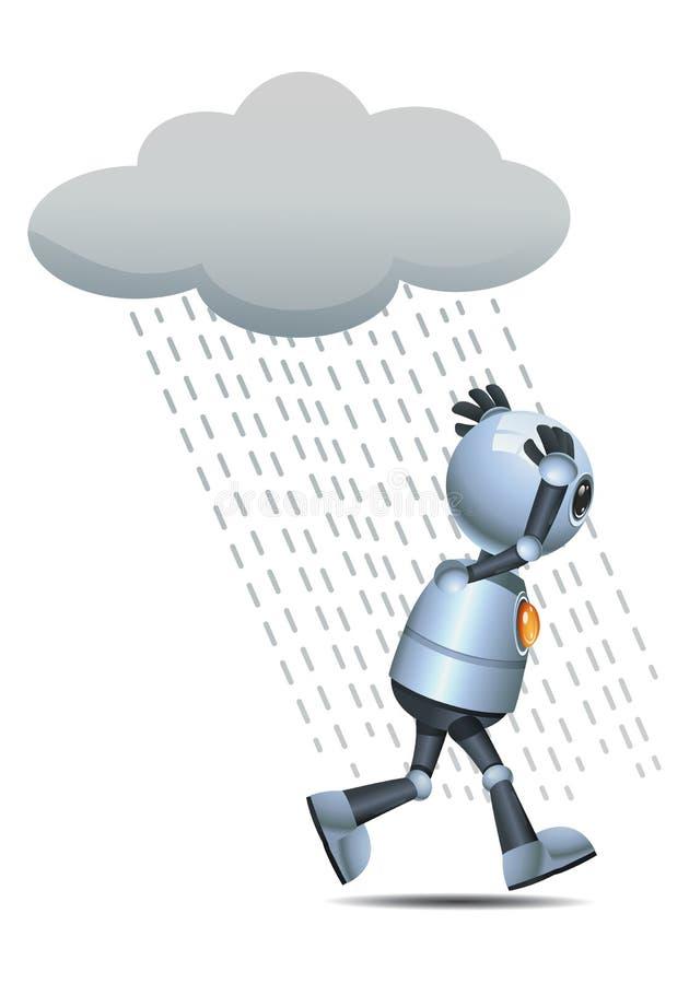 Peu de fonctionnement humide de robot sous la pluie illustration stock