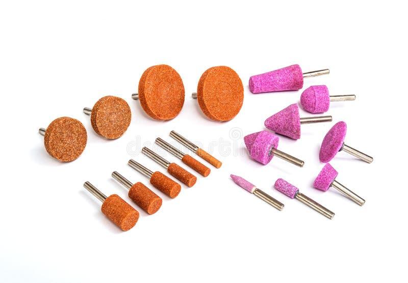 Peu de foret en acier de meulage et de polissage industriel réglé photographie stock