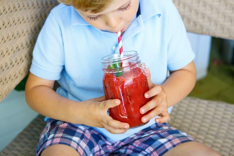 Peu de garçon d'enfant buvant le smoothie sain de fruit photos libres de droits