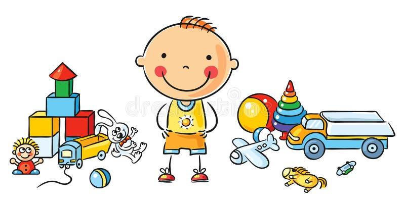 Peu de garçon de bande dessinée avec des jouets illustration de vecteur