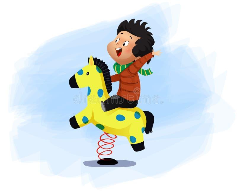 Peu de garçon s'assied sur une oscillation de cheval illustration de vecteur
