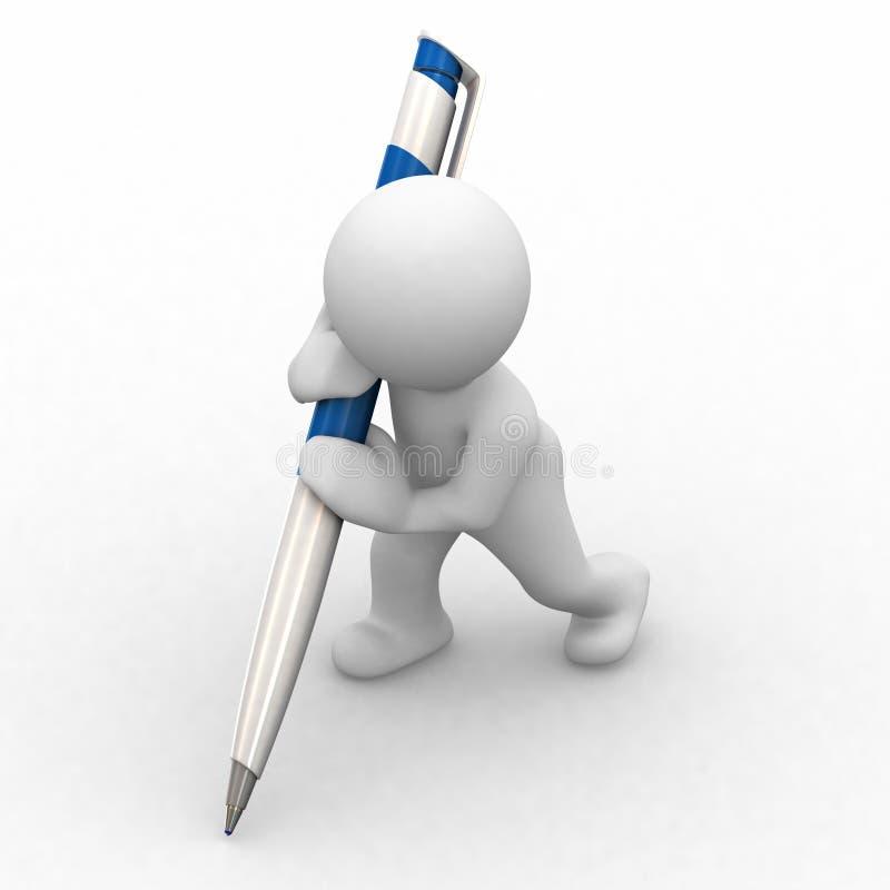 Peu de grand crayon lecteur humain illustration de vecteur
