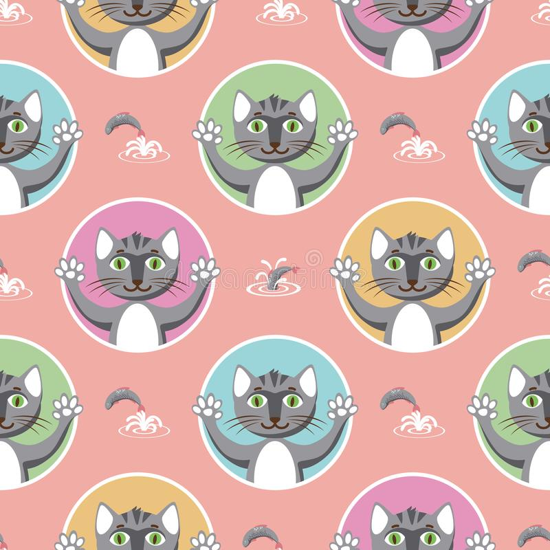Peu de Gray Cats Seamless Pattern illustration de vecteur