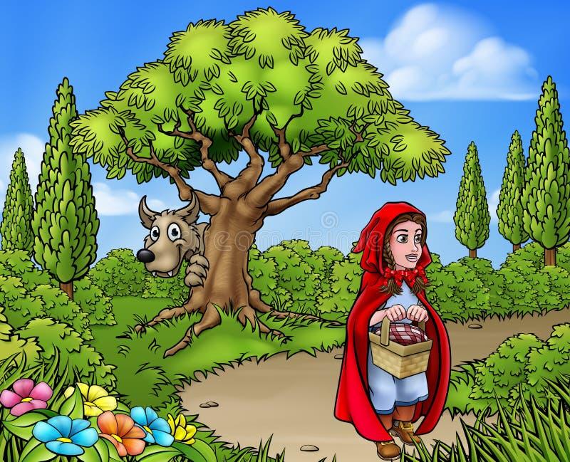 Peu de Hood Cartoon Scene de monte rouge illustration de vecteur