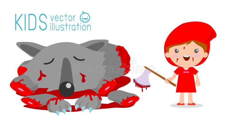 Peu de Hood Kills The Wolf de monte rouge, peu de capuchon rouge et loup, peu de capuchon rouge illustration libre de droits