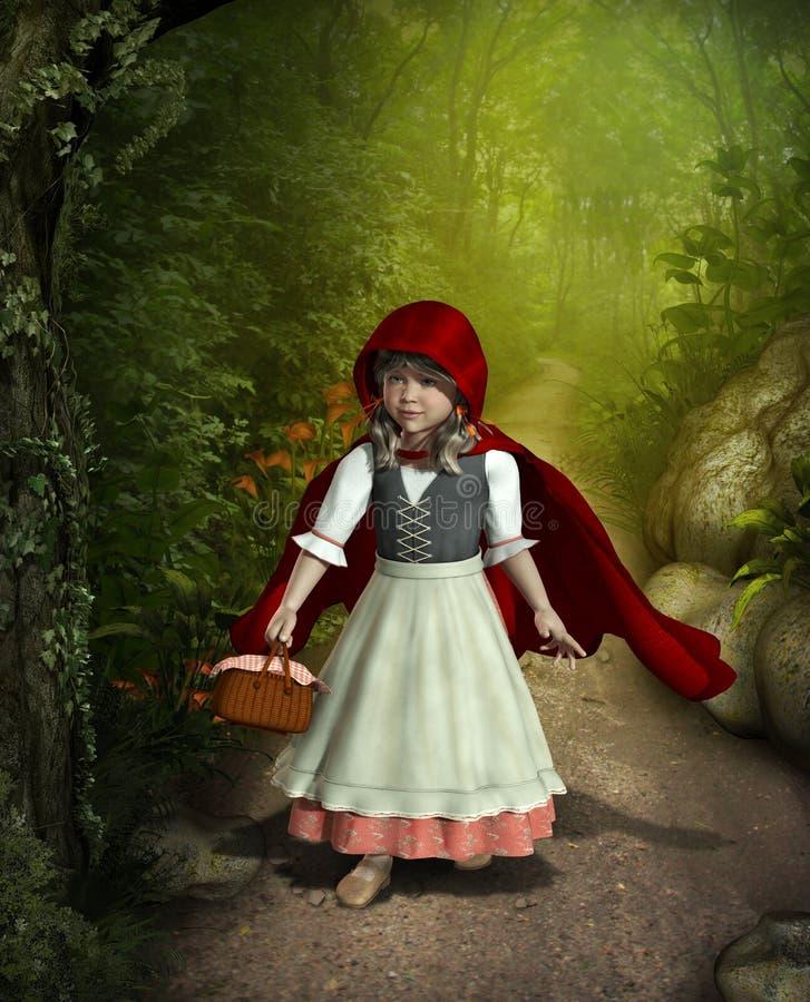 Peu de Hood Walking de monte rouge par la forêt illustration de vecteur
