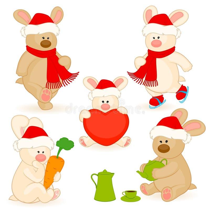 peu de lapin de jouet avec des cadeaux illustration stock