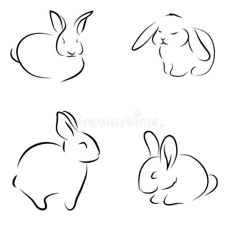 Peu de lapin, ensemble de dessins de croquis Lapins réglés illustration de vecteur