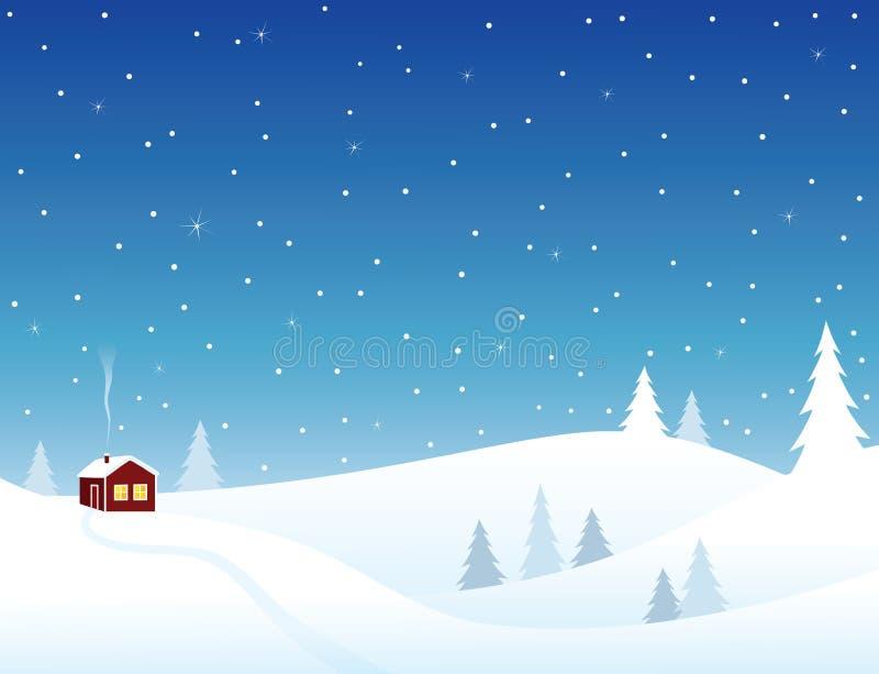 Peu de maison en côtes neigeuses illustration libre de droits