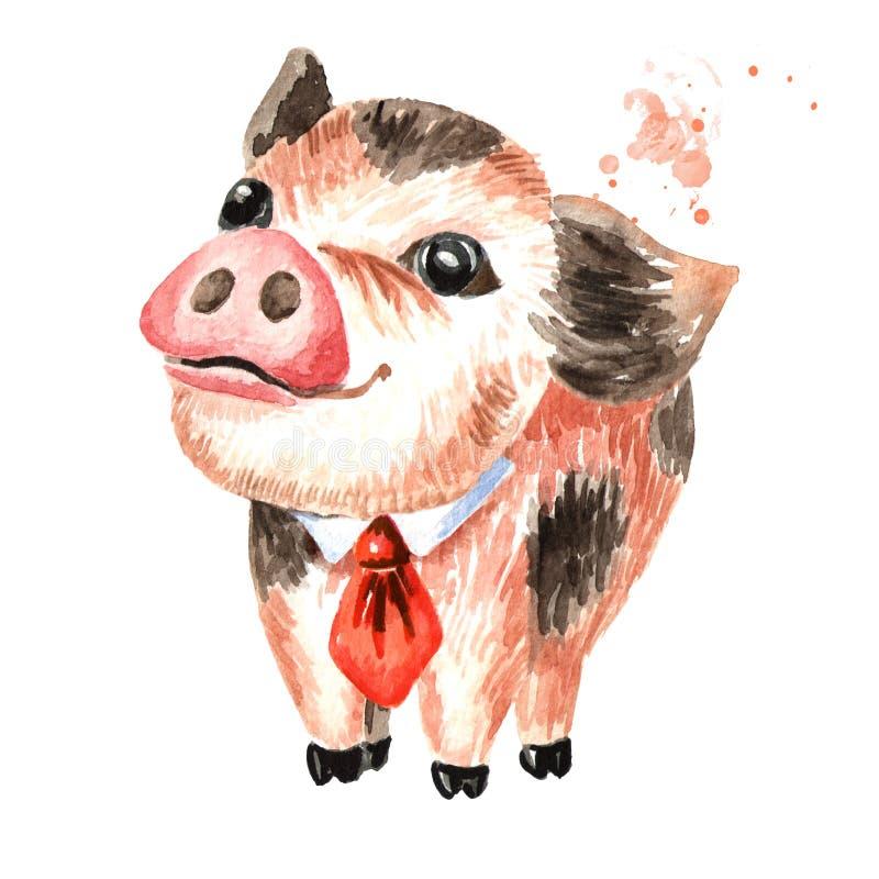 Peu de mini porc de tasse de thé drôle mignonne avec le lien en soie Illustration tirée par la main d'aquarelle, d'isolement illustration stock