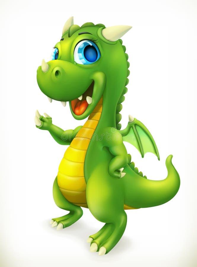 Peu de personnage de dessin animé de dragon Icône drôle de vecteur d'animaux illustration libre de droits