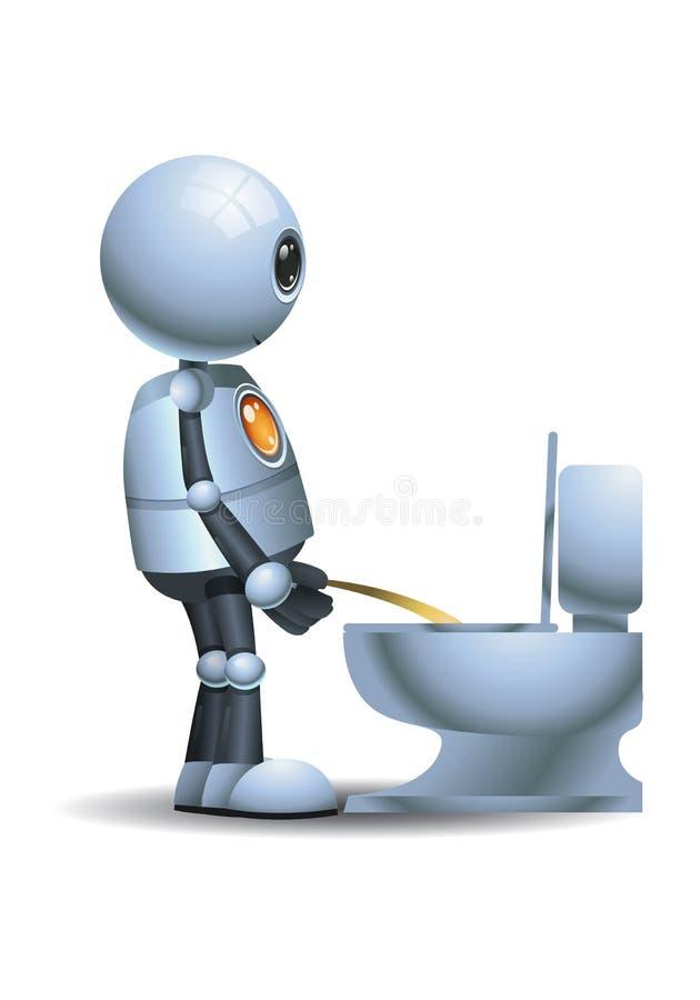 Peu de pipi de robot sur la toilette illustration stock