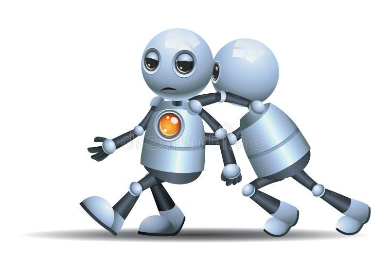 Peu de poussée de robot l'autre robot illustration libre de droits