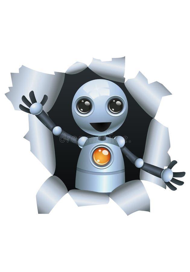 Peu de robot émergeant le mur illustration libre de droits