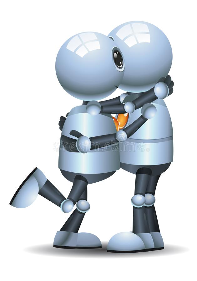 Peu de robot étreignant et embrassant illustration de vecteur