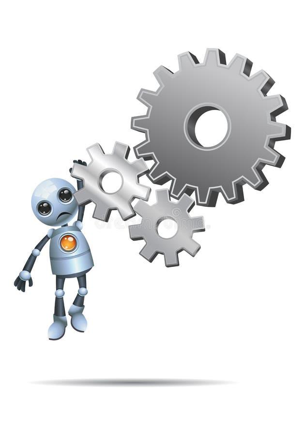 Peu de robot accrochant sur des vitesses illustration stock