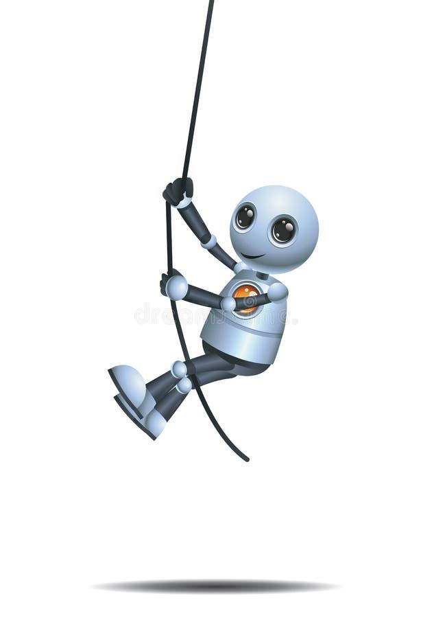 peu de robot ayant l'amusement accrochant et balancer sur la corde illustration stock