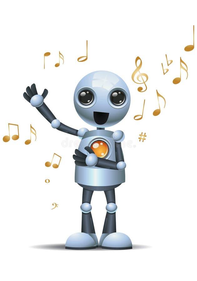 Peu de robot chantant fort sur le fond blanc d'isolement illustration libre de droits