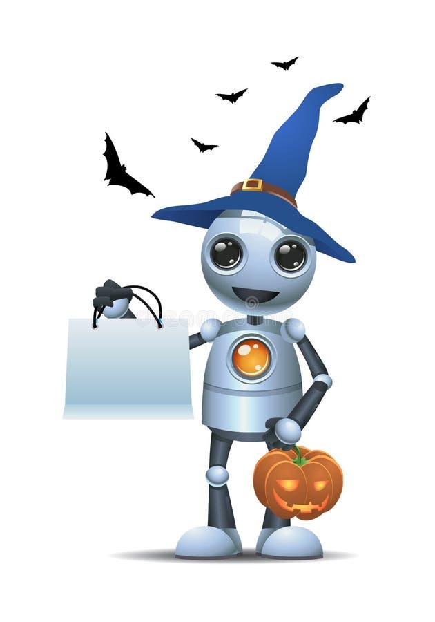 Peu de robot dans Halloween portant le potiron découpé illustration stock