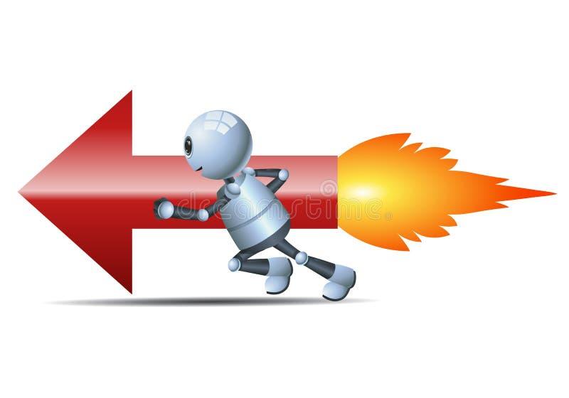Peu de robot emballant la flèche rapide illustration libre de droits